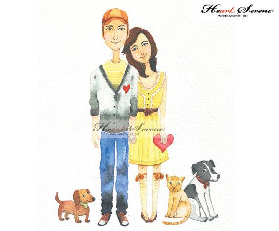 watercolor custom couple artwork