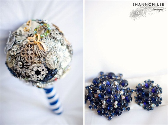 brooch bouquet with striped ribbon handle