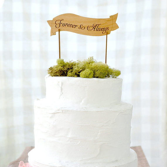 handmade wedding - forever and always cake topper