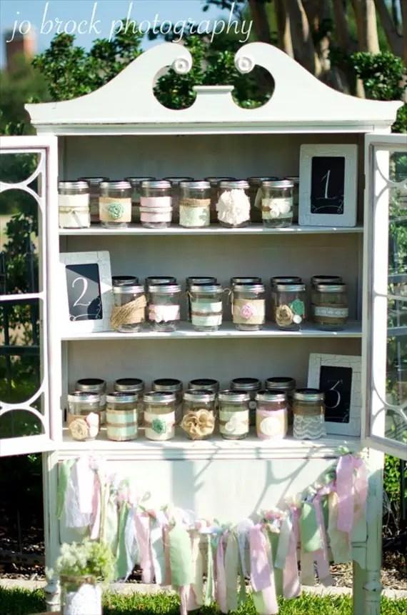 shabby chic escort card display (jars)