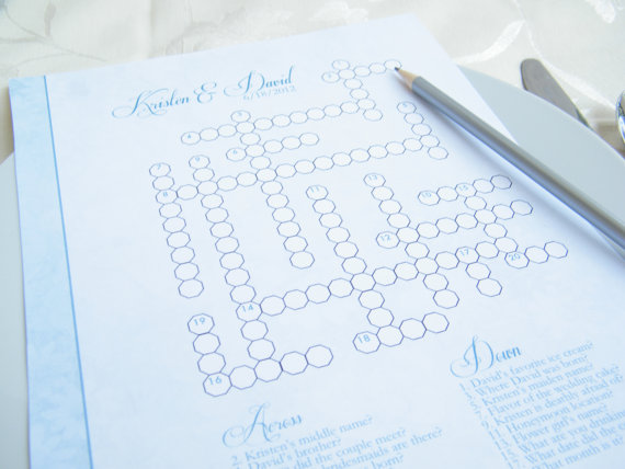 handmade wedding crossword puzzle