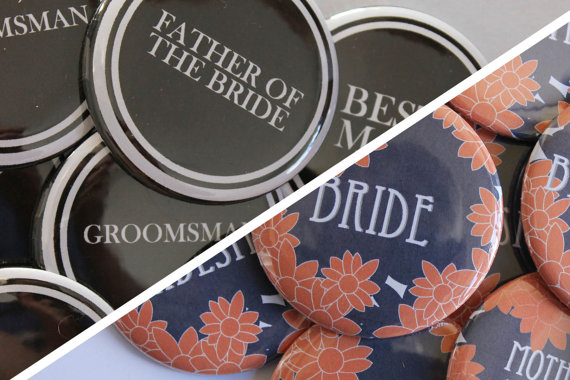 bridesmaid groomsmen buttons