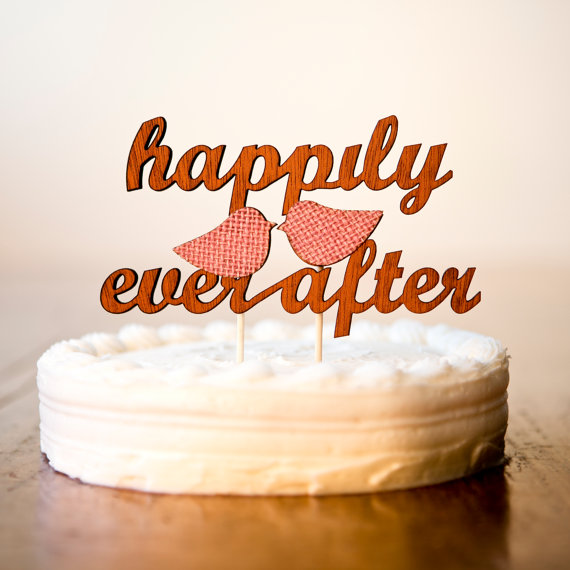 happily ever after wooden cake toppers