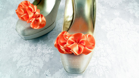 ruffle shoe clips tangerine color