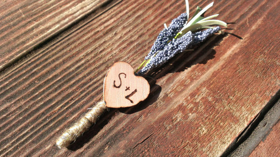 burlap lavender boutonniere by redheartcreations