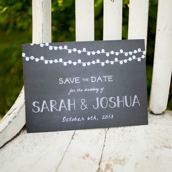 chalkboard themed save the dates