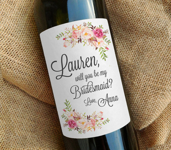 be my bridesmaid wine bottle label