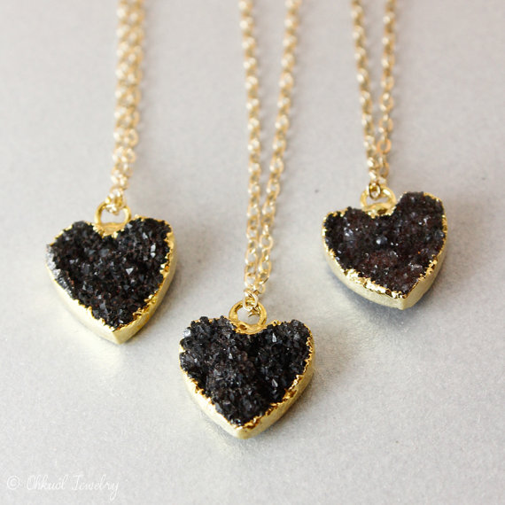 black and gold druzy heart necklaces