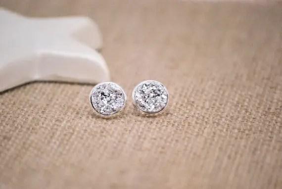druzy earrings in silver by snowingstars