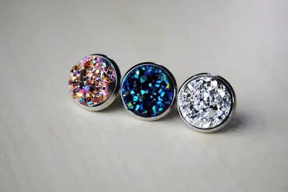 druzy post earrings by BeeesBeads