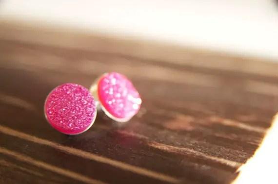 hot pink druzy earrings