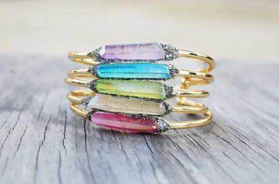 raw crystal and druzy cuff bracelet by HalfMoonFusion