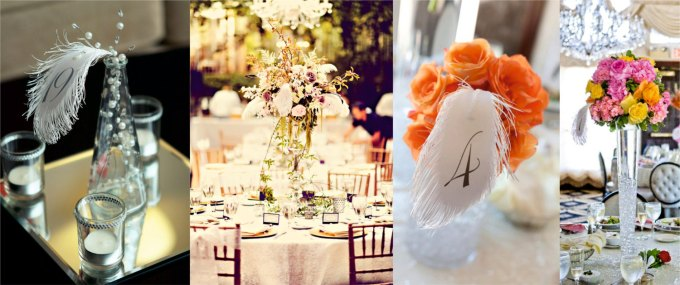 feather centerpieces table numbers