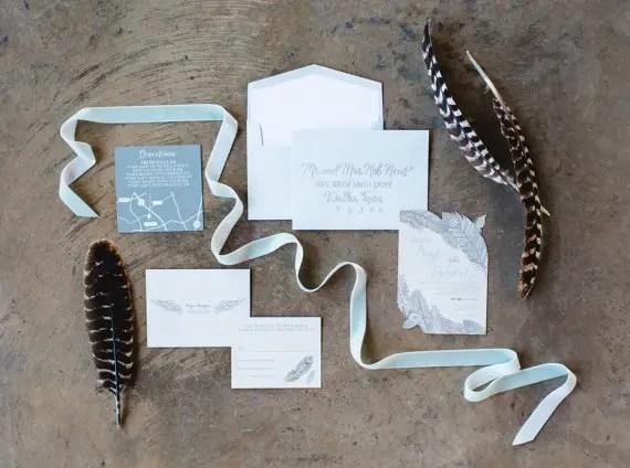 feather wedding invitation
