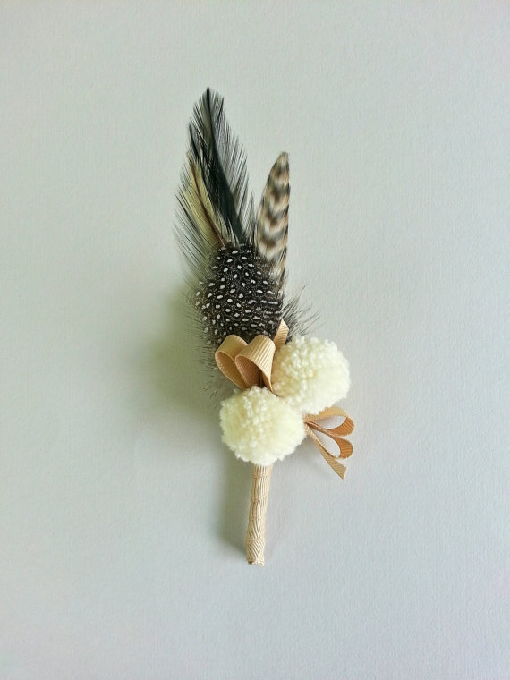 feather n cream yarn pom rustic boutonniere