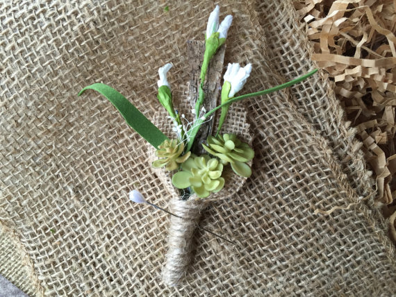 pips and succulent boutonniere
