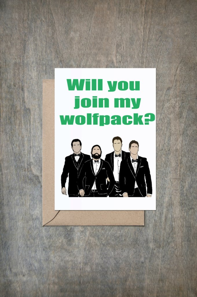wolfpack card | Funny Groomsmen Cards He'll Actually Want to Send | via http://emmalinebride.com/groomsmen/groomsmen-cards-funny/