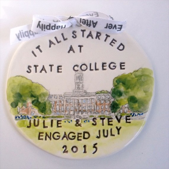 it all began at engaged date and names ring dish