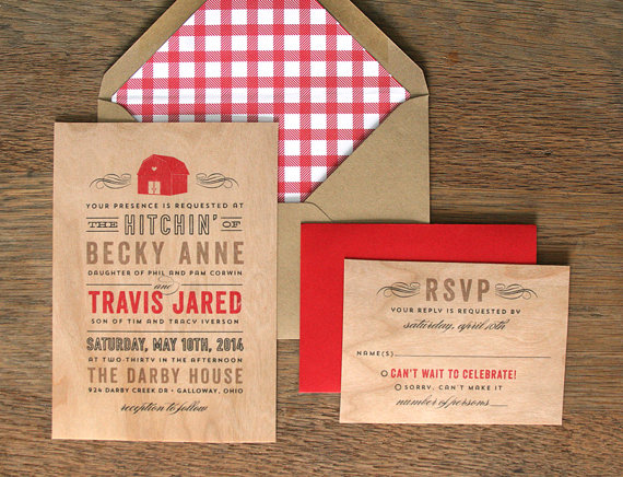 red barn invitations by cheer up cherup | barn reception ideas for weddings via http://emmalinebride.com/reception/barn-ideas-weddings/ 