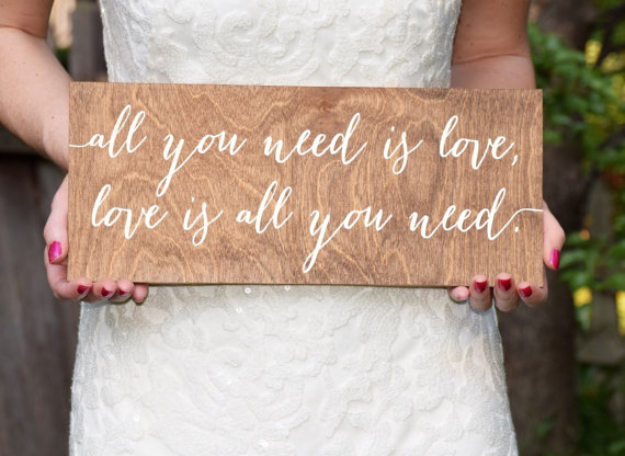 all you need is love love is all you need signage | signage ideas weddings | by paper and pine co. | http://emmalinebride.com/decor/signage-ideas-weddings/