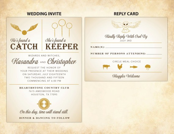 catch keeper harry potter wedding invitations