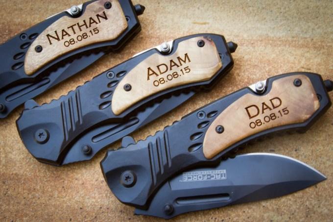 engraved folding knife for groomsmen