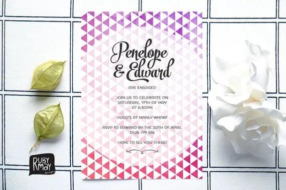 geometric modern wedding invitation by rubymaydesign