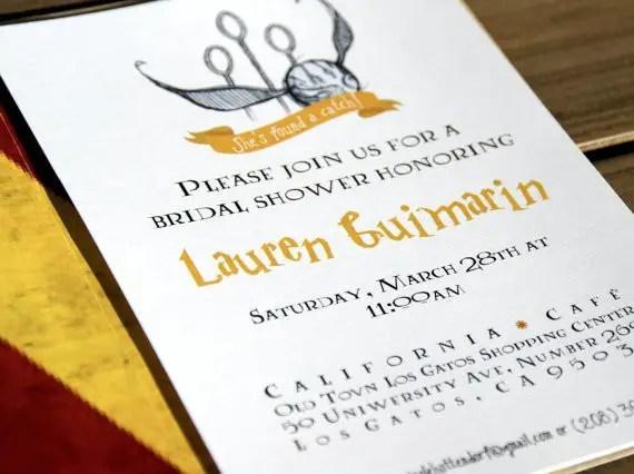 harry potter bridal shower invitations