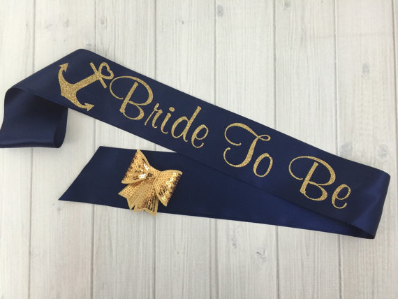 nautical beach bride sash | How to Plan the Best Beach Bachelorette Party | http://emmalinebride.com/how-to/plan-beach-bachelorette-party