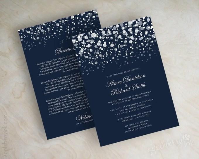 navy blue glitter wedding invitations