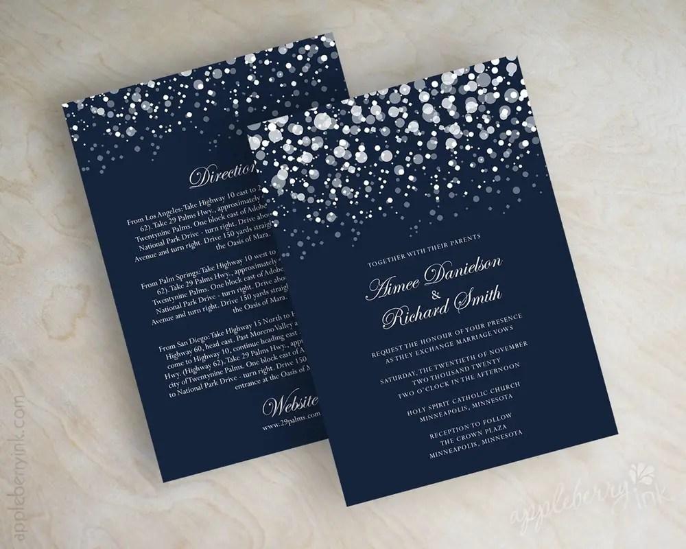 Superb Navy Blue Glitter Wedding Invitations
