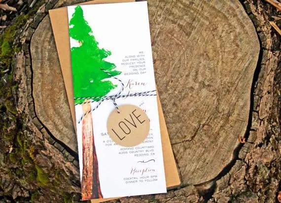 redwood tree wedding invitation