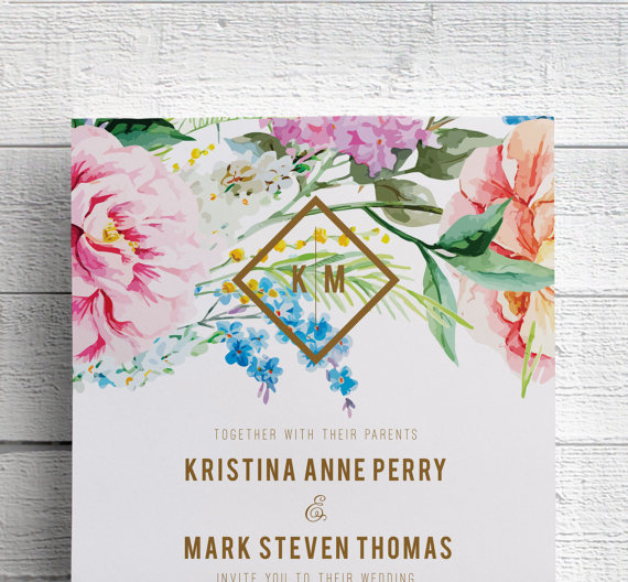 spring floral wedding invitation by edenweddingstudio