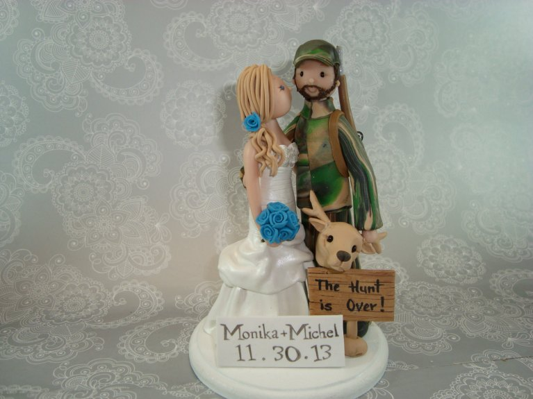 the hunt is over cake topper by mudcards