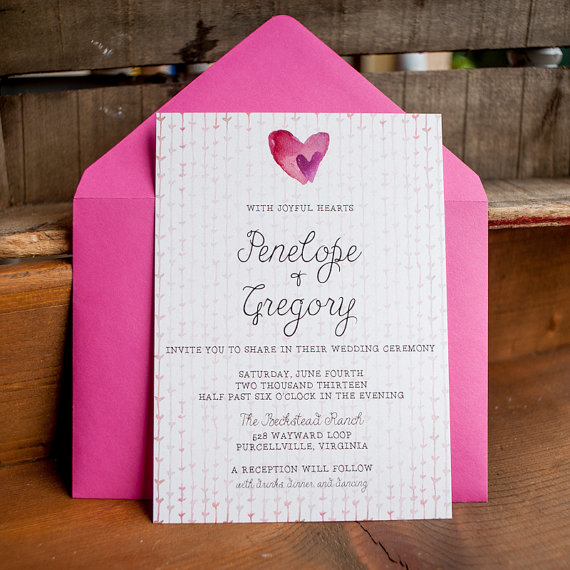 watercolor wedding invitations hot pink by starboardpress