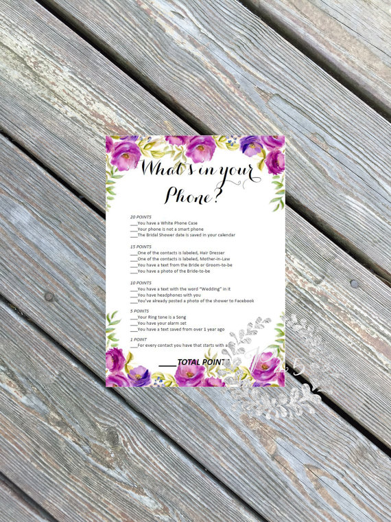 what is in your phone | printable bridal shower games | petite25 studios | http://emmalinebride.com/bridal-shower/games-printable/