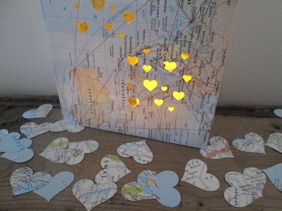 map confetti | travel themed wedding ideas: http://emmalinebride.com/themes/travel-theme-wedding-ideas/