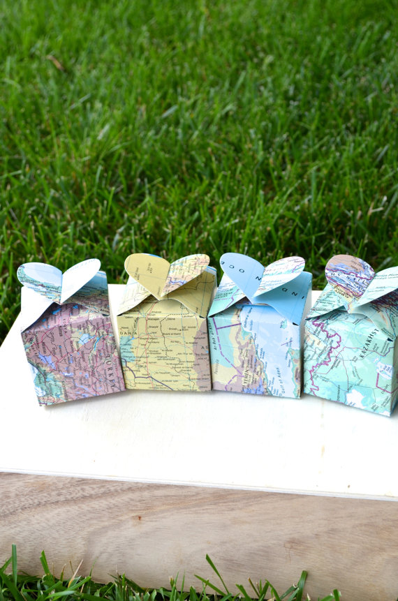 map favor boxes by thepathlesstraveled | travel themed wedding ideas: http://emmalinebride.com/themes/travel-theme-wedding-ideas/