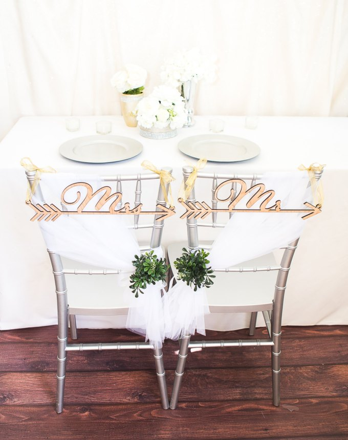 boho arrow | chair signs for bride and groom | by zcreate design | http://emmalinebride.com/reception/chair-signs-for-bride-and-groom/