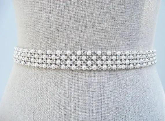 pearls and rhinestone sash by SparkleSMBridal | via Should I Add a Sash to My Dress? on Emmaline Bride | http://emmalinebride.com/bride/should-i-add-sash-to-wedding-dress/