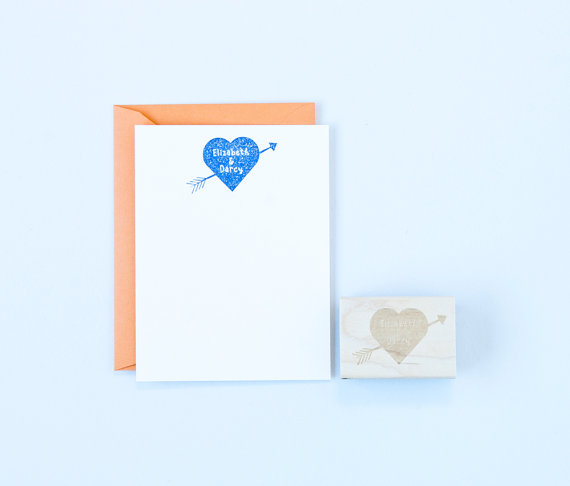 personalized heart and arrows stamp