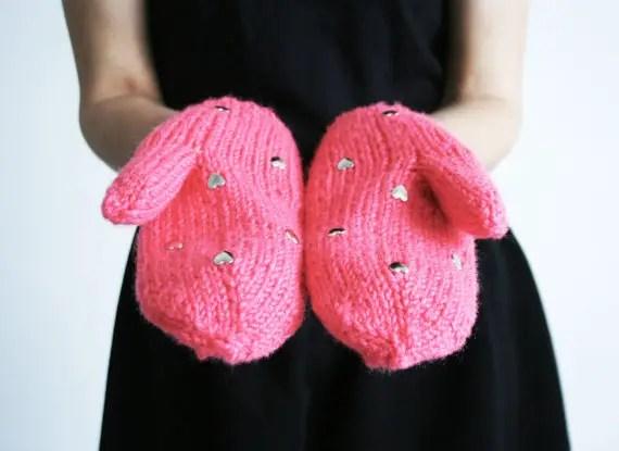 pink heart mittens