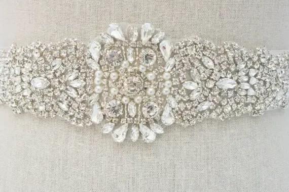 rhinestone sash belt by SparkleSMBridal | via Should I Add a Sash to My Dress? on Emmaline Bride | http://emmalinebride.com/bride/should-i-add-sash-to-wedding-dress/