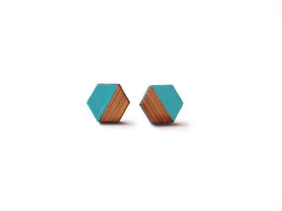 teal hexagon earrings by HoneyGingerToast