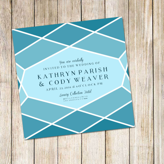 wedding invitation honeycomb in blue by paigerprints