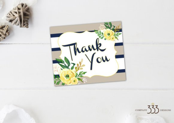 beige and navy stripe invitations - thank you