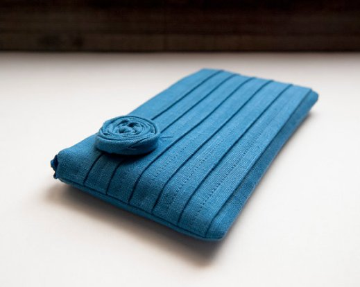 blue bridesmaid clutch with rosette