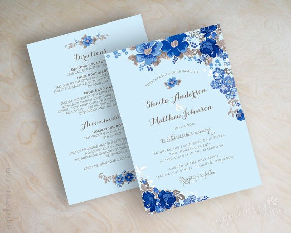 blue floral sapphire wedding invitations by appleberryink