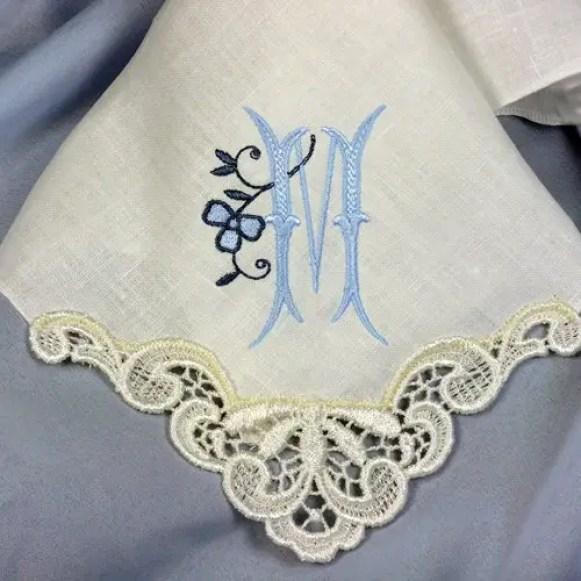 blue monogrammed personalized handkerchief