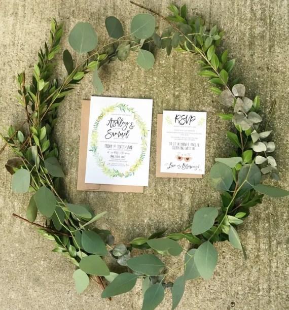 bohemian floral wreath invitation